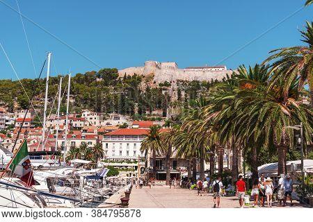Hvar Croatia - 16 August 2020: The Waterfront Promenade Of Hvar Town, Adriatic Sea, Croatia.