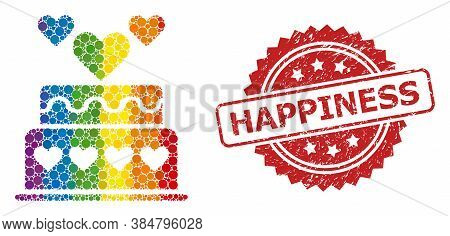 Marriage Cake Mosaic Icon Of Spheric Dots In Variable Sizes And Lgbt Color Tinges, And Happiness Cor