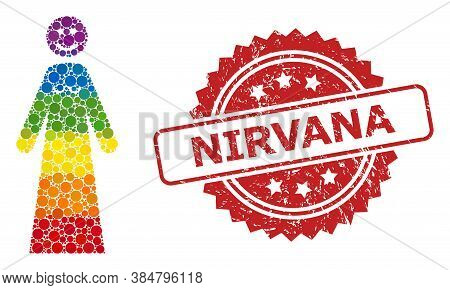 Happy Woman Collage Icon Of Round Blots In Variable Sizes And Lgbt Colored Shades, And Nirvana Uncle
