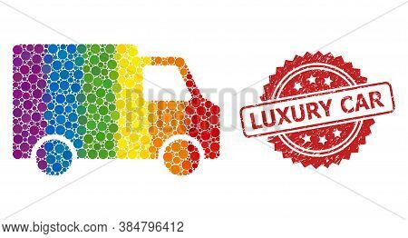 Van Car Collage Icon Of Circle Elements In Variable Sizes And Spectrum Colored Color Tinges, And Lux