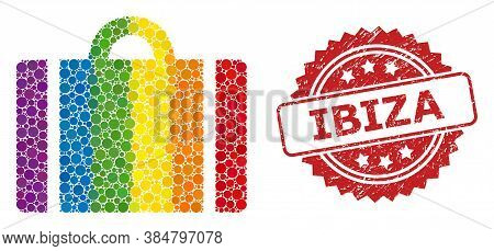 Luggage Collage Icon Of Round Blots In Various Sizes And Spectrum Colored Color Tinges, And Ibiza Di