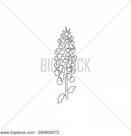 One Continuous Line Drawing Of Beauty Fresh Digitalis Purpurea For Home Art Wall Decor Poster Print.