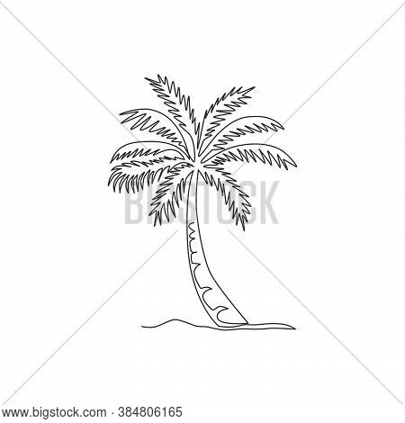 Single Continuous Line Drawing Coco Nucifera. Decorative Coconut Palm Tree Concept For Wall Decor Po