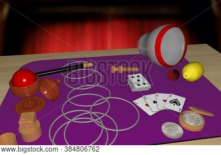 3d Rendered Illustration Of A Collection Of Common, But Mystifying, Magic Tricks.