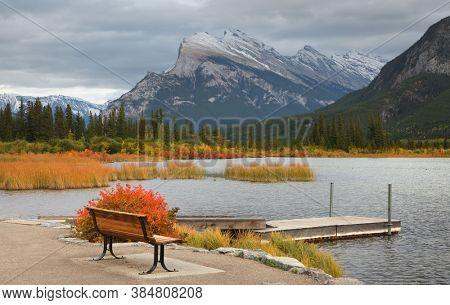 Small boating dock in Vermilion lakes, Alberta,Canada