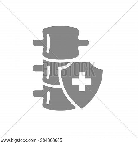 Healthy Protected Spine Grey Icon. First Aid For Spine Diseases Symbol