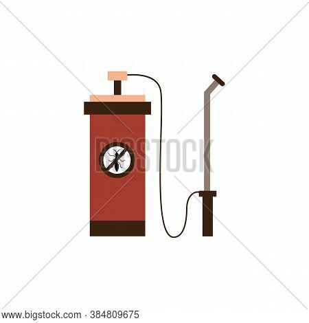 Toxic Chemicals Sprayer For Pest Extermination Flat Vector Illustration Isolated.