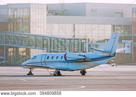 Private Jet Plane On The Airport Apron