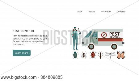 Website For Pest And Rodent Control Services Flat Vector Illustration Isolated.