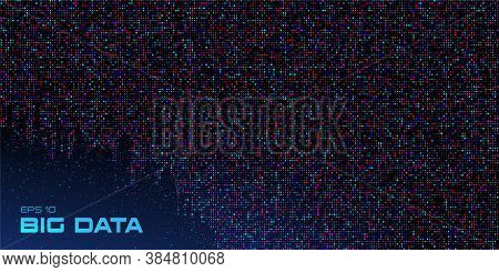 Big Data Visualization. Data Stream Crumbling Down. Abstract Background Of A Large Number Of Multico