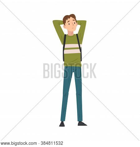 Chherful Guy In Casual Clothes Standing Throwing Hands Over Head, International College Or Universit