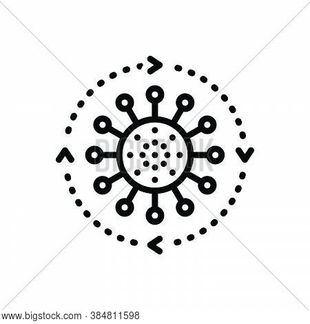 Black Line Icon For Throughout Everywhere All-over Around Ubiquitously Anywhere End-to-end Disease
