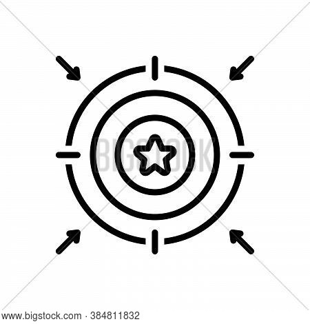 Black Line Icon For Aim  Aiming Point Target Purpose Objective Goal Ambition Aspiration Accurate Suc