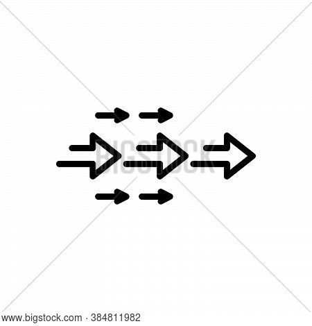 Black Line Icon For Follow Move Travel Arrow Propel Forward Forth Onward In-front Fore