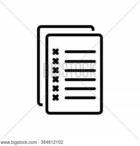 Black Line Icon For Mistake Error Fault Inaccuracy Misprision Wrong Text Exam Paper Checklist