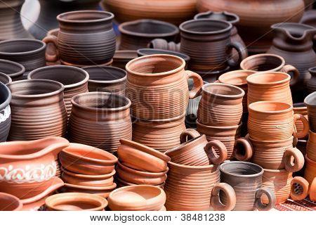 Terracotta Ceramics Mugs Souvenirs Street Handicraft Market