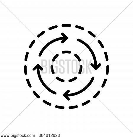 Black Line Icon For Consistent Constant Consistency Dynamic Regular Stability Repeat Circle Circular