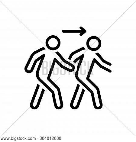 Black Line Icon For Following Follow Trailing Consecutive Devotee Pursue Ensue Person Emember Coming