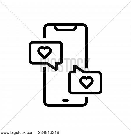 Black Line Icon For Conversation Gossip Dialogue Chitchat Colloquy Talking Parley Smartphone App Bub