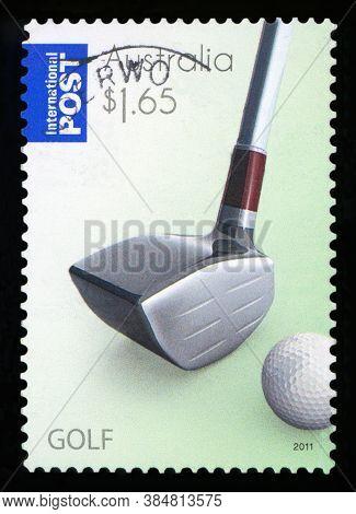 Australia - Circa 2011: A Stamp Printed In Australia Dedicated To Golf, Circa 2011