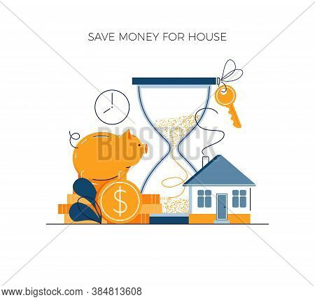 Money Savings Concept, Invest Money For Private House Buying. Toss Gold Coins In Piggy Bank. Future