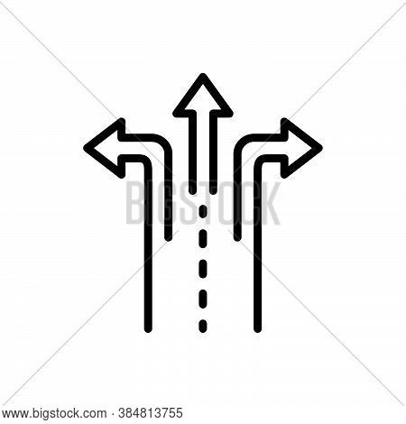 Black Line Icon For Split Divided Echeloned Separate Direction Way Arrow Choose Crossroad Opportunit