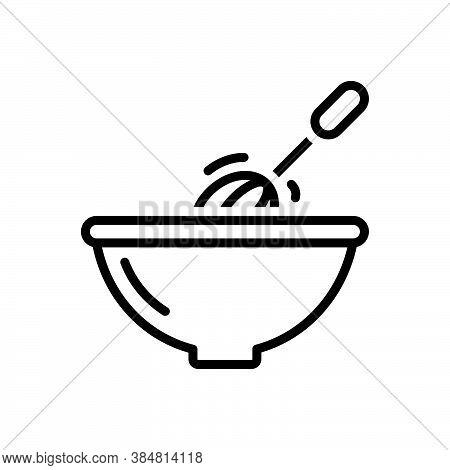 Black Line Icon For Stir Mix Blend Bustling Bustle Homemade Household Kitchenware Churn Move