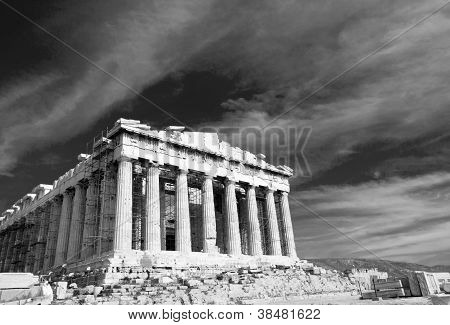 Ancient Parthenon In Acropolis Athens Greece Black And White