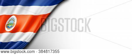 Costa Rica Flag Isolated On White. Horizontal Panoramic Banner. 3d Illustration