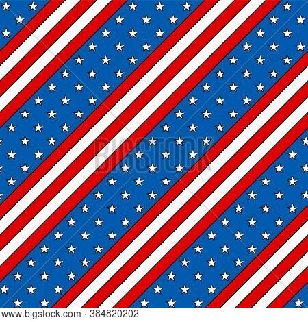 Seamless Pattern For Usa Independence Day. Background Of Flag For July 4th In The National Colors Of