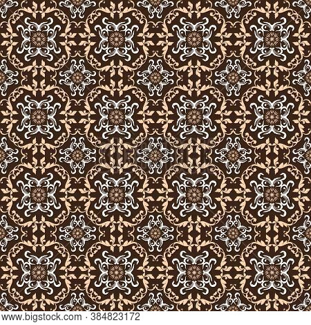Vintage Flower Pattern On Solo Batik With Dark Brown Color Design.