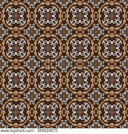 Elegant Flower Motifs Design On Parang Batik With Dark Brown Color Design.
