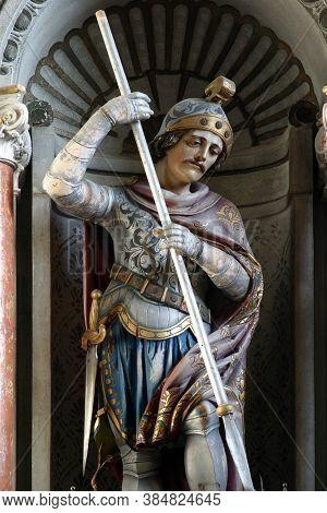 MALA GORICA, CROATIA - OCTOBER 10, 2013: St. George's statue on the main altar in St. George's Church in Mala Gorica, Croatia