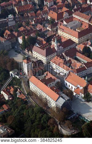 ZAGREB, CROATIA - OCTOBER 29, 2012: Panorama of the old part of Zagreb, Croatia