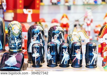 Moscow, Russia - December 18, 2019: Set Of Chritmas Wooden Matrioshka Dolls With Russian Balerinas O