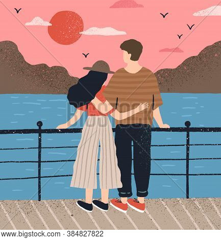 Couple Hugging Standing On Waterfront Admiring Seascape At Sunset Vector Flat Illustration. Man And