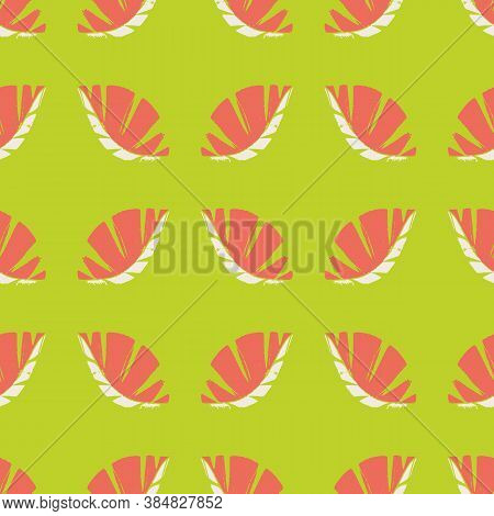 Geometric Mono Print Style Leaves Seamless Vector Pattern Background. Textured Cut Out Coral Color W
