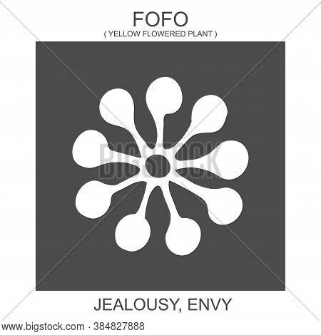 Vector Icon With African Adinkra Symbol Fofo. Symbol Of Jealousy And Envy