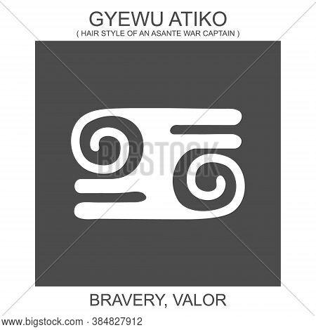 Vector Icon With African Adinkra Symbol Gyewu Atiko. Symbol Of Bravery And Valor