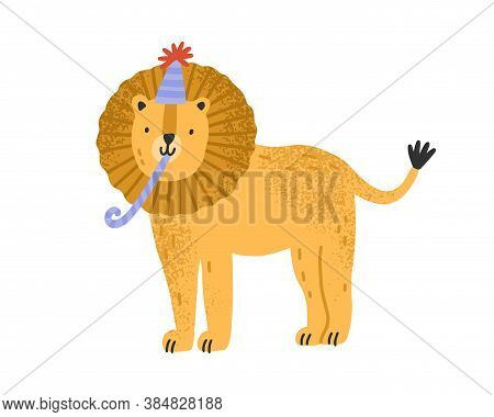 Cute Childish Lion In Cone Hat With Festive Pipe Vector Flat Illustration. Funny Animal Celebrating