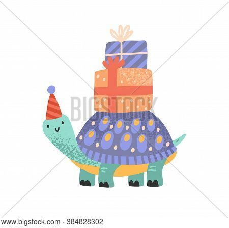 Cute Celebratory Turtle Carrying Gift Box On Tortoiseshell Vector Flat Illustration. Tortoise In Fes