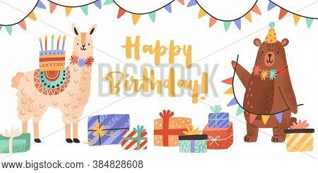 Celebratory Card With Funny Llama And Bear Holding Cake And Garland Vector Flat Illustration. Cute A