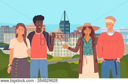 Multinational Couples Waving Hands, Gesture, Greeting, Saying Hello. Caucasian Girl And African Guy