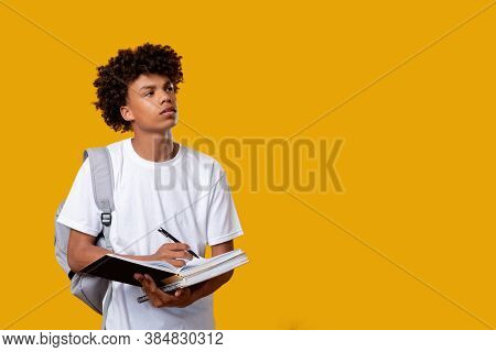 Doubtful Black Teenager. Think Idea. Puzzled African Male Student Writing In Notebook Isolated On Or