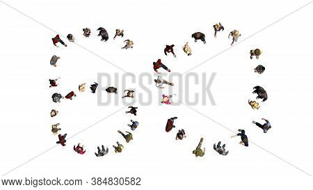 People - Arranged In Number 60 - Top View Without Shadow - Isolated On White Background - 3d Illustr