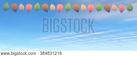 Autumn Leaves In The Sky Background By Day - 3d Render