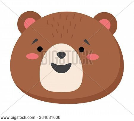 Brown Bear Head Looks Straight. Smiling Teddy Bear Icon. Bear Vector Flat Illustration Isolated On W
