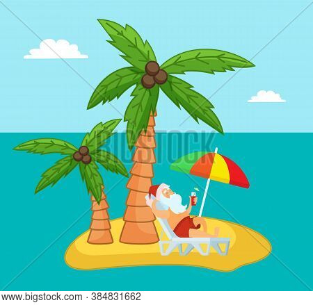 Tropical Exotic Island With Relaxing Santa Claus Drinking Delicious Cocktail, Enjoy Of Rest, Sand Sh