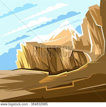 Mountain Cliff And Abyss. Landscape. A Narrow Path Over The Cliff. Large Mountains And Clouds In The