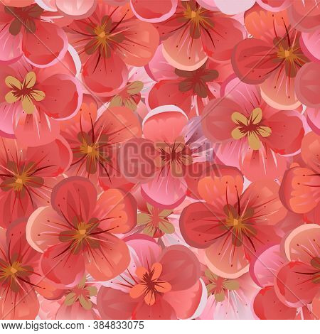 Fruity Pink And Red Flowers. Vector. Geometric Seamless Background Texture. Blooming Cherry, Apple,